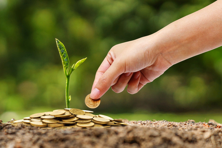 Hand putting a golden coin to a young green plant growing on a pile of golden coins / Business with csr practice and environmental concern
