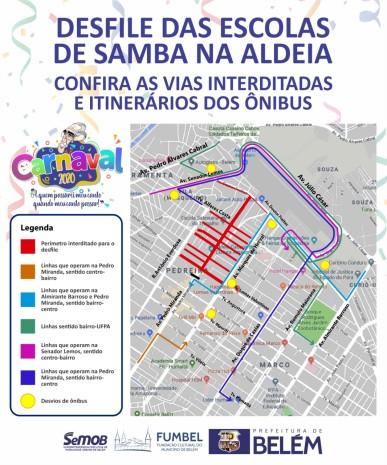 Trânsito na Pedreira é alterado para desfile das escolas de samba