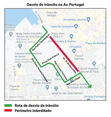 Trânsito será alterado para obras no entorno do Palácio Antônio Lemos